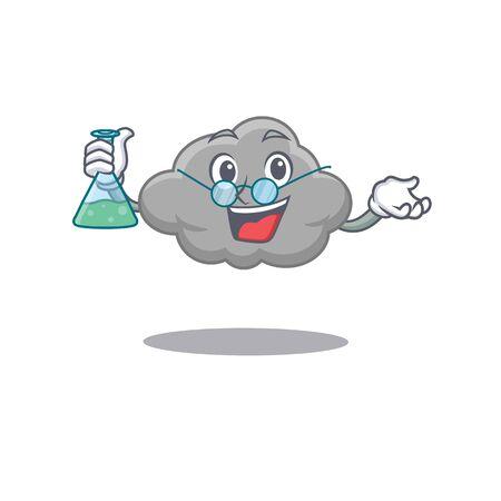 Grey cloud smart Professor Cartoon design style working with glass tube. Vector illustration