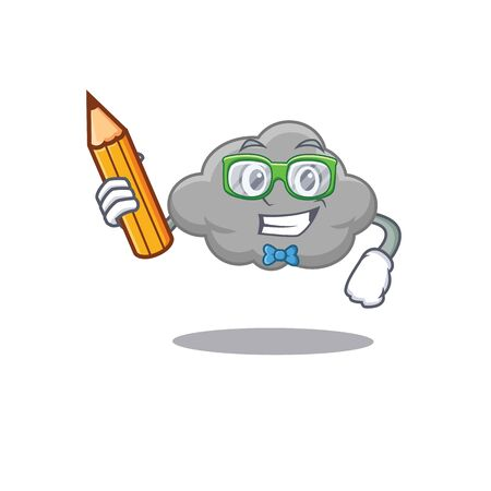 A brainy student grey cloud cartoon character with pencil and glasses. Vector illustration