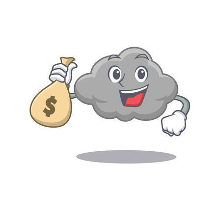 Rich grey cloud cartoon design holds money bags. Vector illustration