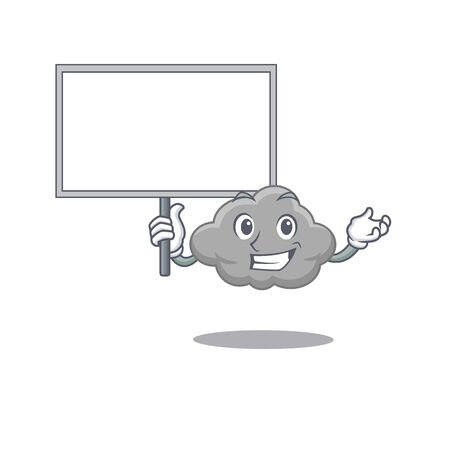 An icon of grey cloud mascot design style bring a board. Vector illustration