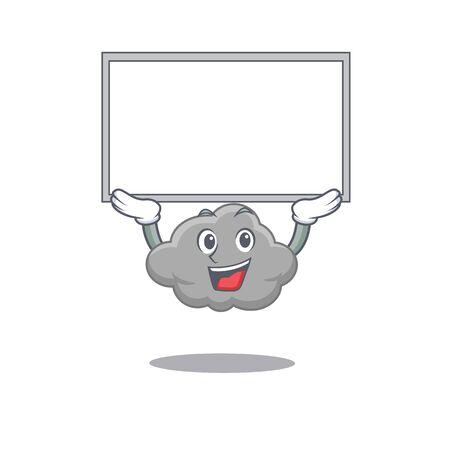 Mascot design of grey cloud lift up a board. Vector illustration