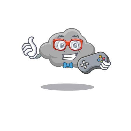 Mascot design concept of grey cloud gamer using controller. Vector illustration