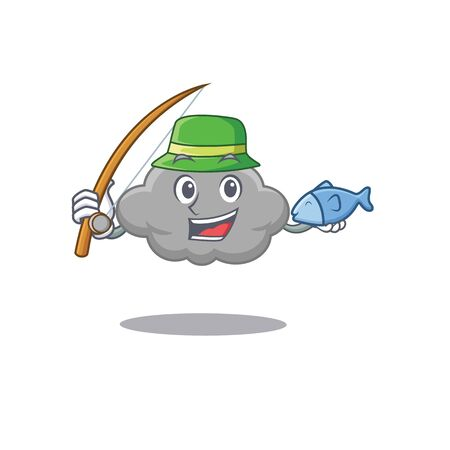 Cartoon design concept of grey cloud while fishing. Vector illustration