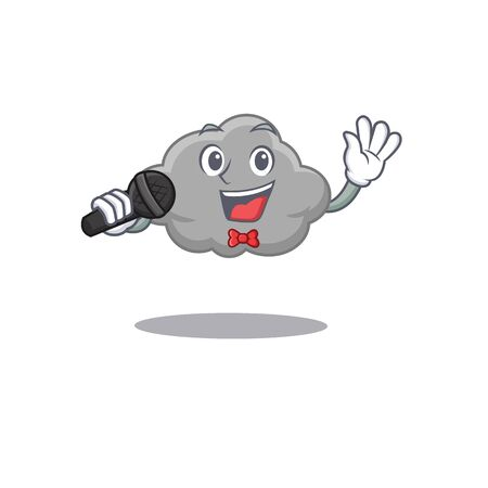 Talented singer of grey cloud cartoon character holding a microphone. Vector illustration