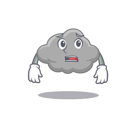 Cartoon design style of grey cloud showing worried face. Vector illustration Иллюстрация