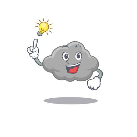 Mascot character design of grey cloud with has an idea smart gesture. Vector illustration