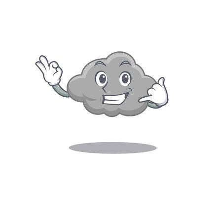Cartoon design of grey cloud with call me funny gesture. Vector illustration