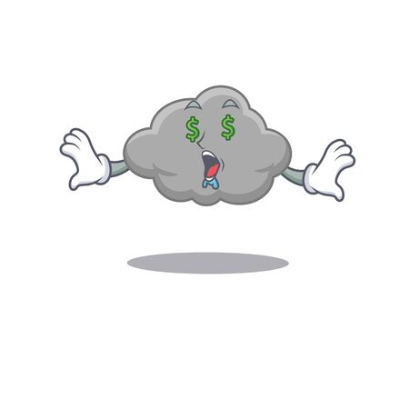 Rich cartoon character design of grey cloud with money eyes. Vector illustration 矢量图像