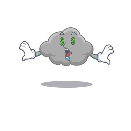 Rich cartoon character design of grey cloud with money eyes. Vector illustration Illusztráció