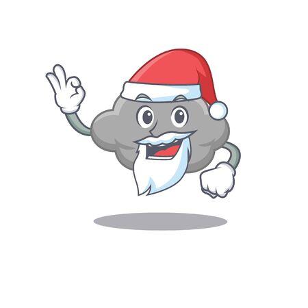 Grey cloud Santa cartoon character with cute ok finger. Vector illustration 矢量图像