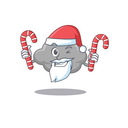 Friendly grey cloud in Santa Cartoon character holds Christmas candies. Vector illustration