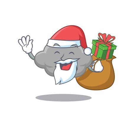 Cartoon design of grey cloud Santa with Christmas gift. Vector illustration Illusztráció