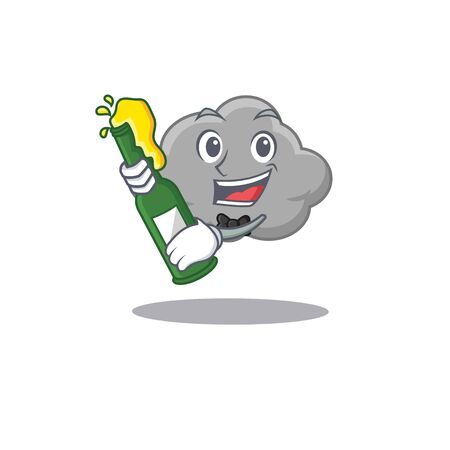Mascot character design of grey cloud say cheers with bottle of beer. Vector illustration