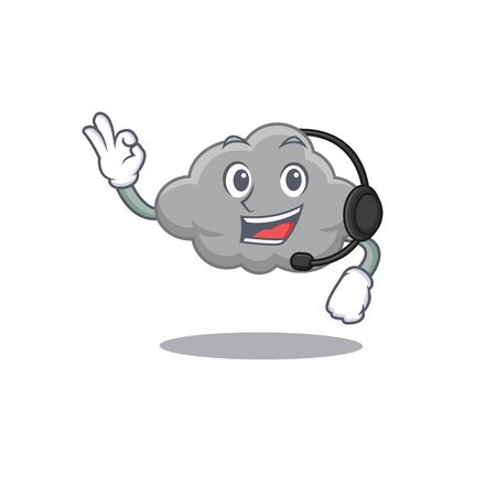A gorgeous grey cloud mascot character concept wearing headphone. Vector illustration
