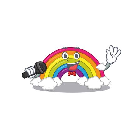 Talented singer of rainbow cartoon character holding a microphone. Vector illustration