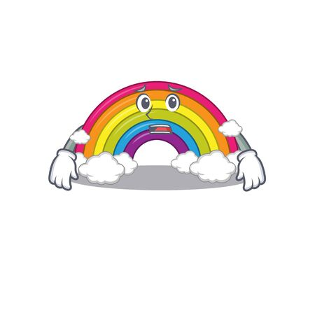 Cartoon design style of rainbow showing worried face. Vector illustration