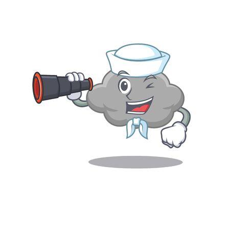 A cartoon icon of grey cloud Sailor with binocular. Vector illustration