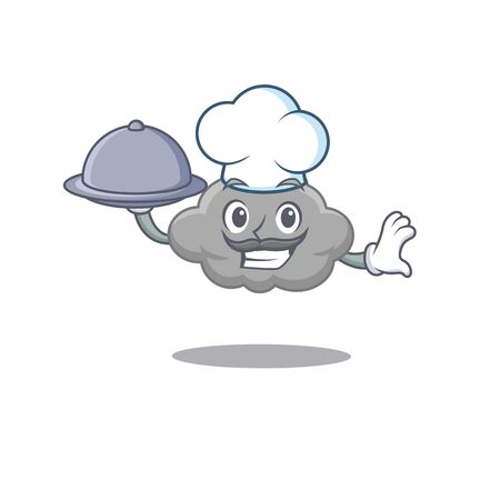 Grey cloud chef cartoon character serving food on tray. Vector illustration