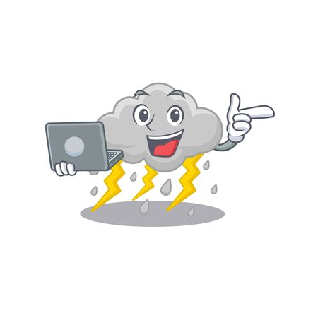 Cartoon character of cloud stormy clever student studying with a laptop. Vector illustration Vettoriali