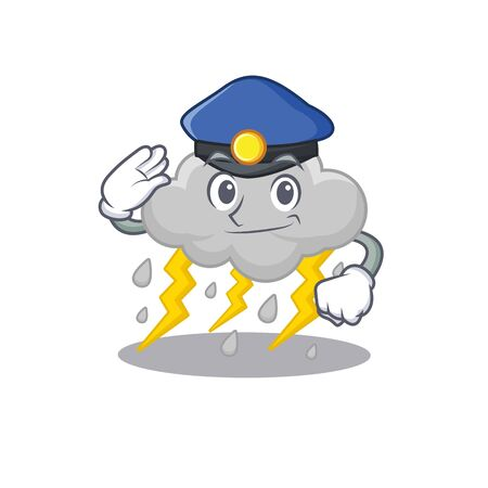 Police officer mascot design of cloud stormy wearing a hat. Vector illustration Vettoriali