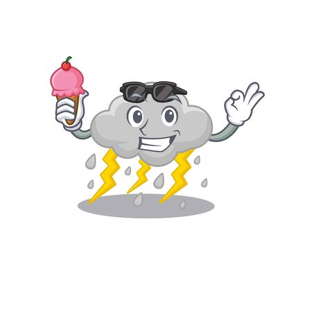 Cartoon design concept of cloud stormy having an ice cream