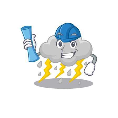 Cartoon character of cloud stormy brainy Architect with blue prints and blue helmet