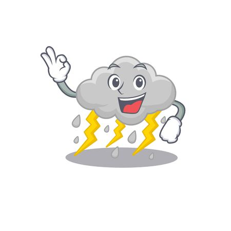 Cloud stormy mascot design style with an Okay gesture finger. Vector illustration