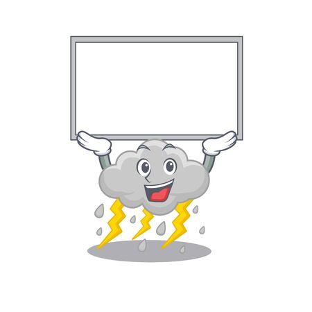 Mascot design of cloud stormy lift up a board