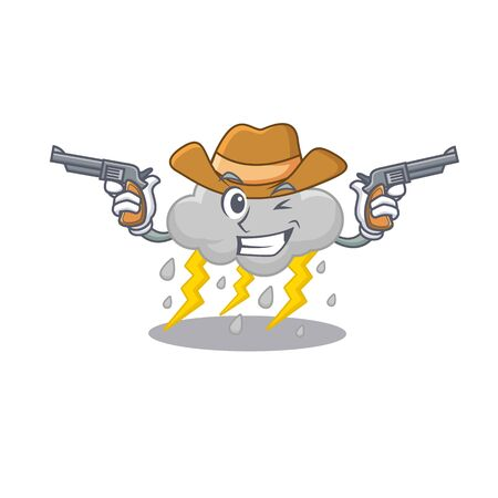 Cute handsome cowboy of cloud stormy cartoon character with guns