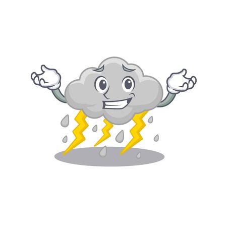A picture of grinning cloud stormy cartoon design concept