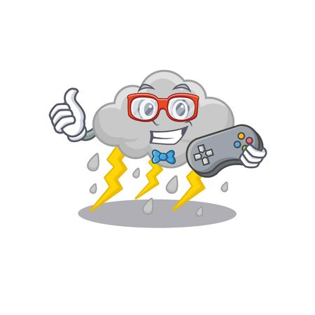 Mascot design concept of cloud stormy gamer using controller. Vector illustration