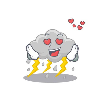 Cute cloud stormy cartoon character has a falling in love face