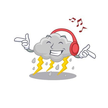 Cloud stormy Cartoon design concept listening music. Vector illustration