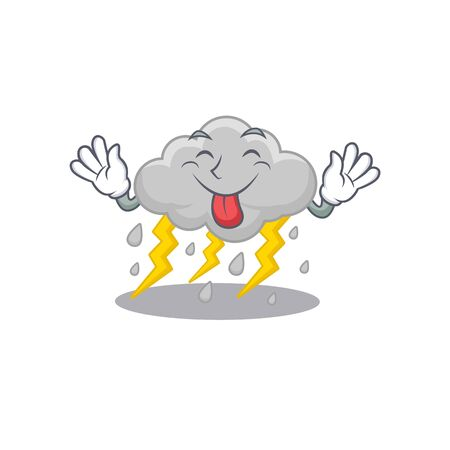 An amusing face cloud stormy cartoon design with tongue out 矢量图像