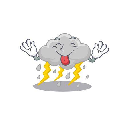 An amusing face cloud stormy cartoon design with tongue out Illusztráció
