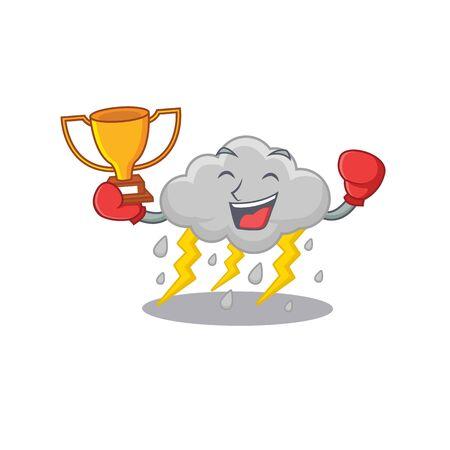 An elegant boxing winner of cloud stormy mascot design style Illusztráció