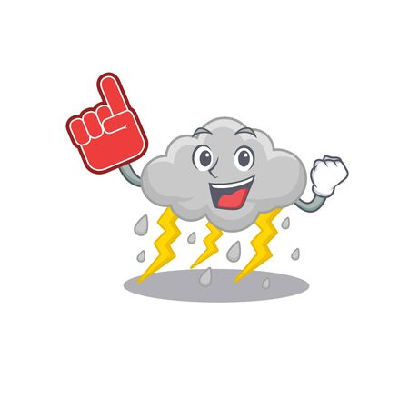 Cloud stormy presented in cartoon character design with Foam finger. Vector illustration