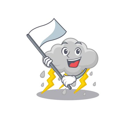 A nationalistic cloud stormy mascot character design with flag. Vector illustration