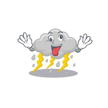 A cartoon design of cloud stormy having a crazy face. Vector illustration