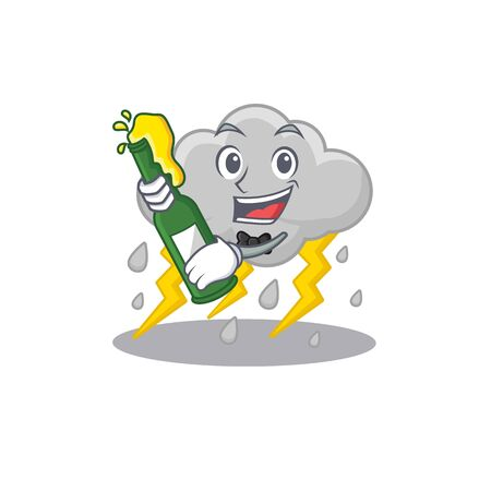 Mascot character design of cloud stormy say cheers with bottle of beer. Vector illustration