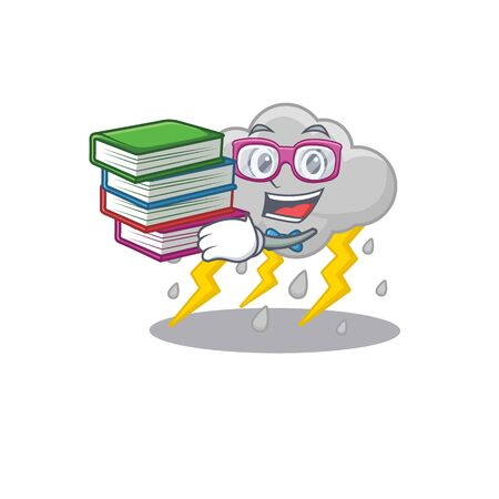 A diligent student in cloud stormy mascot design concept with books