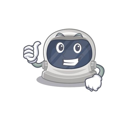 Astronaut helmet cartoon character design making OK gesture Illustration