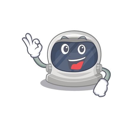 Astronaut helmet mascot design style with an Okay gesture finger