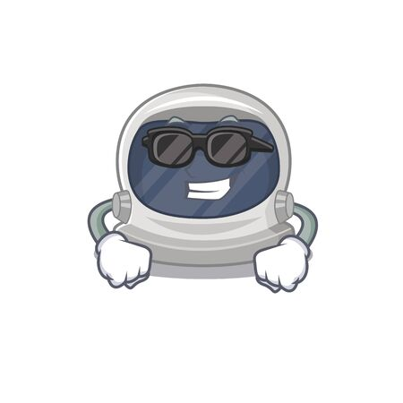 Cool astronaut helmet cartoon character wearing expensive black glasses