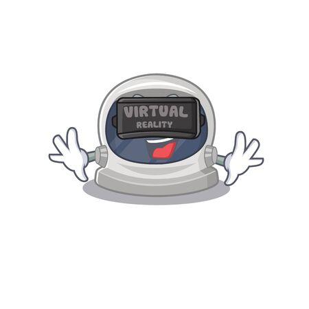 Cartoon design style of astronaut helmet with modern Virtual Reality headset