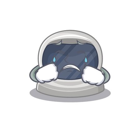 Cartoon character design of astronaut helmet with a crying face. Vector illustration