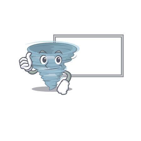 Humorous tornado cartoon design Thumbs up bring a white board