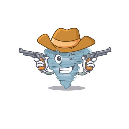 Cute handsome cowboy of tornado cartoon character with guns