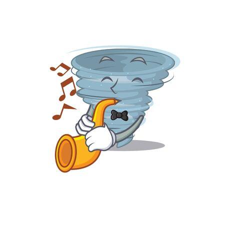 Talented musician of tornado cartoon design playing a trumpet. Vector illustration