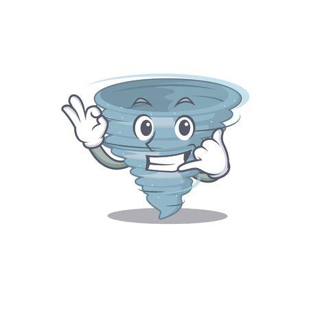Cartoon design of tornado with call me funny gesture